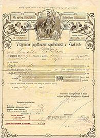 Pojistka Vzájemě pojišťovací společnosti v Krakově z roku 1897
