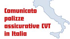Comunicato polizze assicurative CVT in Italia